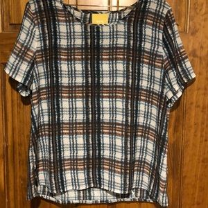 Anthropology's Draped Plaid Top by Maeve Size XL
